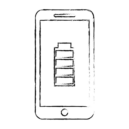 Smartphone with battery energy full power app, vector illustration.