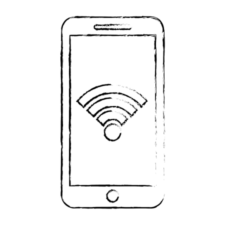 Smartphone with wifi internet and gps navigation app, vector illustration.
