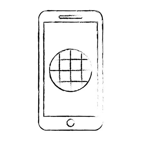 Smartphone with gps navigation app, vector illustration.