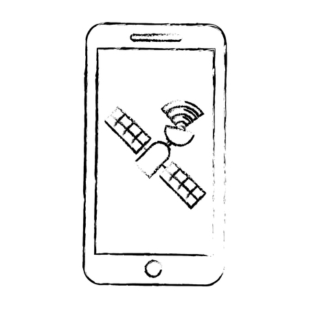 Smartphone with gps navigation and satellite technology, vector illustration.