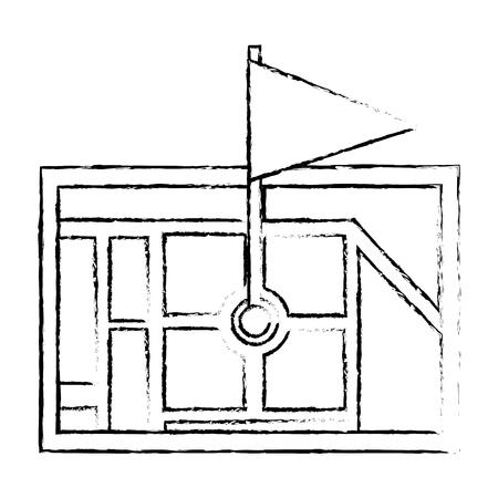 Gps ナビゲーション マップ先ピン マップ フラグ、ベクトル図で。  イラスト・ベクター素材