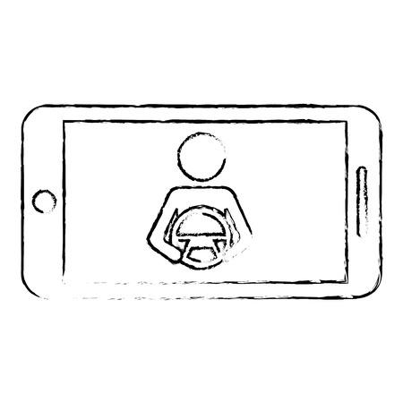 smartphone gps navigation driver at steering wheel vector illustration Illustration