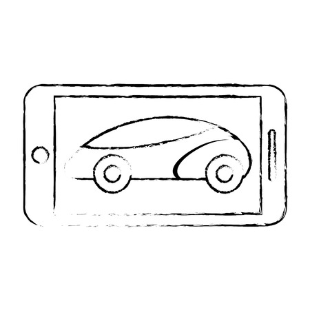 Smartphone gps navigation with vehicle, vector illustration.