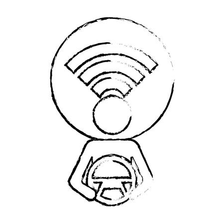 Bestuurder bij stuurwiel met signaal autonoom ontwerp, vectorillustratie. Stock Illustratie