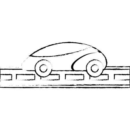 Gps navigation wuth car smart on road, vector illustration.