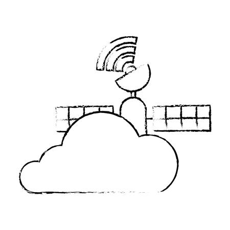 クラウド衛星接続、ベクトル図と Gps ナビゲーション。  イラスト・ベクター素材