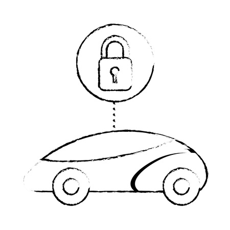 smart or intelligent car security system futuristic technology vector illustration