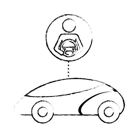 Smart or intelligent car driver, autonomous futuristic technology.