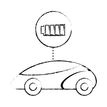 スマートまたは理性的な車、バッテリー充電器技術、ベクトル イラスト。  イラスト・ベクター素材