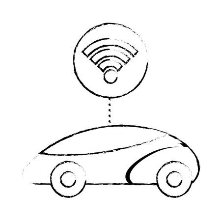 스마트 또는 지능형 자동차, 연결 wifi 기술, 벡터 일러스트 레이 션.