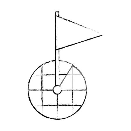 gps ナビゲーション画面のポインター マップ フラグ マーカー シンボル ベクトル図  イラスト・ベクター素材