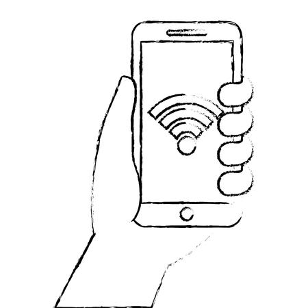 スマート フォンの gps ナビゲーション wifi 信号ベクトル図を持っている手  イラスト・ベクター素材