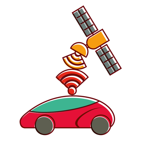 Gps ナビゲーション衛星を助ける車先信号ベクトル図  イラスト・ベクター素材