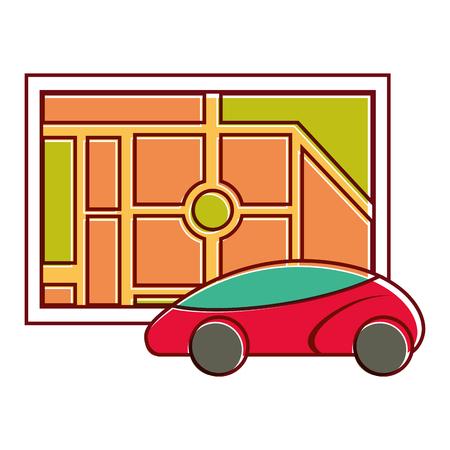 map navigation car web application vector illustration