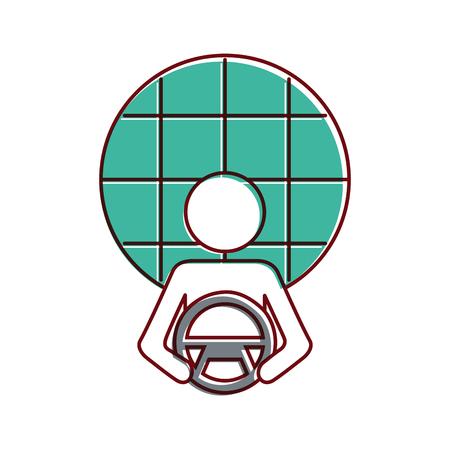 Driver at steering wheel, gps navigation screen vector illustration