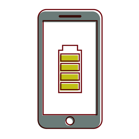 smartphone battery energy full power app vector illustration