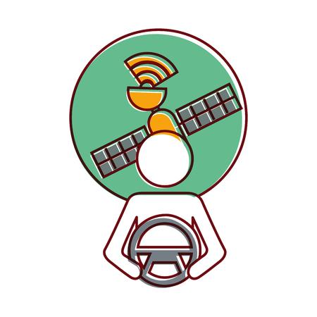 Bestuurder bij stuurwiel, autonome satelliet gps vectorillustratie