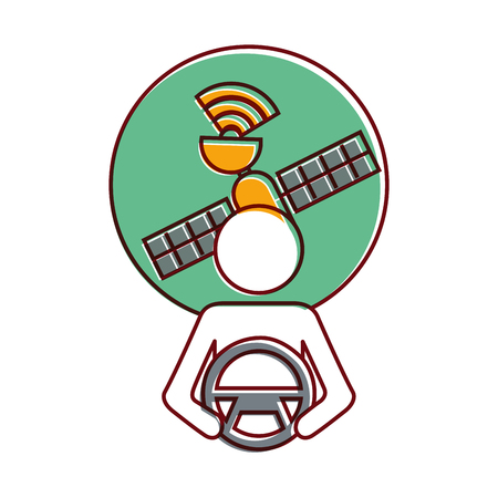 Driver at steering wheel, autonomous satellite gps vector illustration Illustration