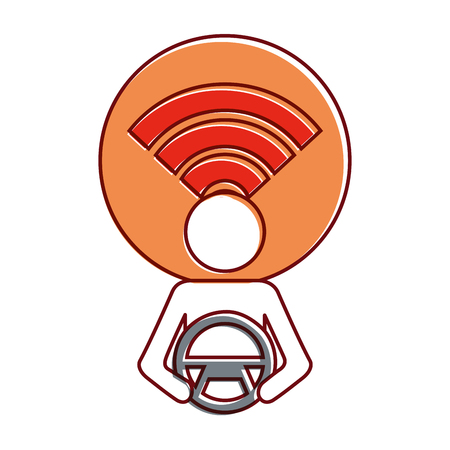 driver at steering wheel signal autonomous design vector illustration Illustration