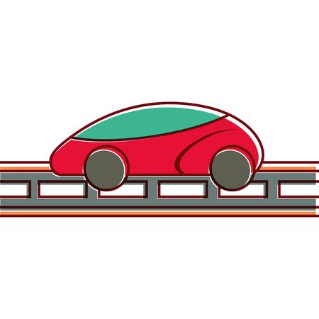 Smart car on road vector illustration