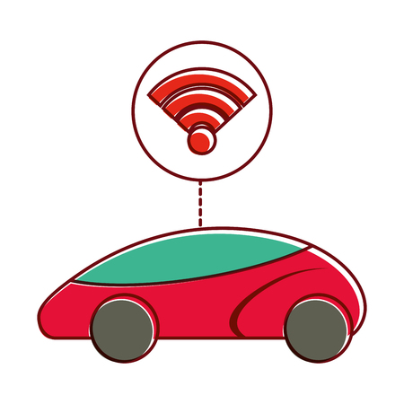 smart or intelligent car connection wifi technology vector illustration Illustration