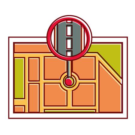 Gps ナビゲーション、道のベクトル図のポインターとマップ先