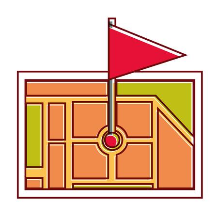 Gps navigation with flag on destination vector illustration