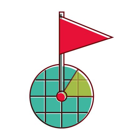フラグのマーカー シンボル ベクトル図と Gps ナビゲーション画面  イラスト・ベクター素材