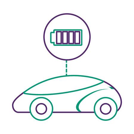 스마트 또는 지능형 자동차, 배터리 충전기 기술 벡터 일러스트 레이션 일러스트