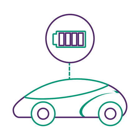 Smart or intelligent car, battery charger technology vector illustration