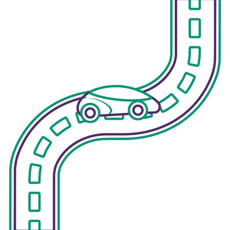 道路のベクター イラストを車