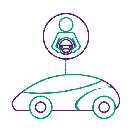 Smart or intelligent car, driver autonomous futuristic technology vector illustration