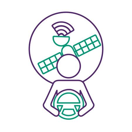 Bestuurder bij stuurwiel met vectorillustratie van het signaal de satellietontwerp