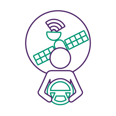 Driver at steering wheel with signal satellite design vector illustration