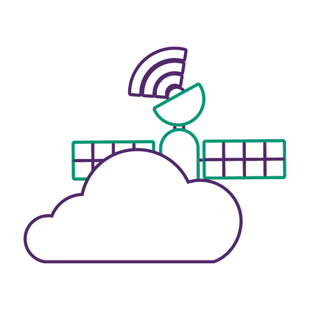 Gps ナビゲーション、クラウド衛星接続ベクトル図  イラスト・ベクター素材