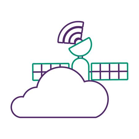 Gps navigation, cloud satellite connection vector illustration