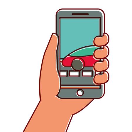 hand holding smartphone car gps navigation vector illustration Stock Photo