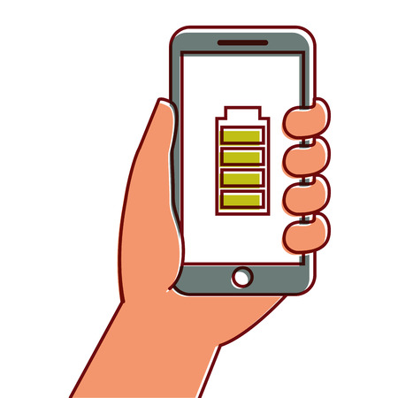 Hand hält Smartphone GPS-Navigation Energie Batterie Vektor-Illustration Standard-Bild - 90299822