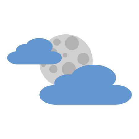 cloud moon night sky nature vector illustration Illustration