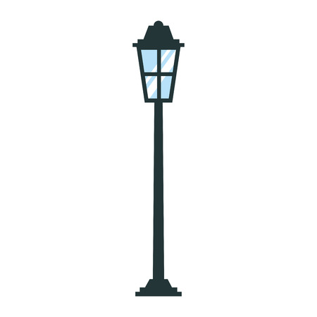park street lamp light glass vintage decoration vector illustration Çizim