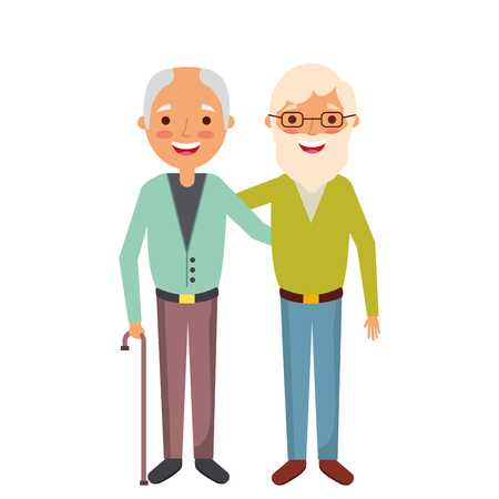 two old men embraced happy people vector illustration