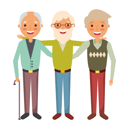group the three old men embraced happy people vector illustration