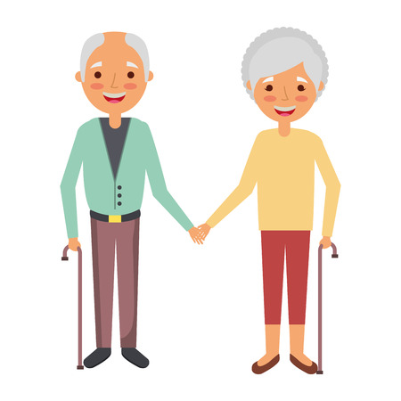 Cute couple the old woman and man grandparents lovely illustration. Illustration