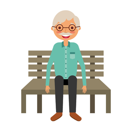 Old man grandpa sitting in bench waiting illustration.
