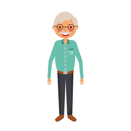 old man grandpather character standing vector illustration