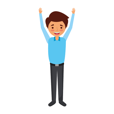 young man happy raising arms smiling vector illustration Çizim