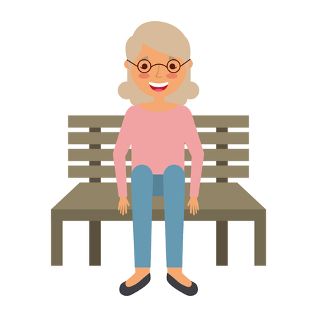 cute grandmother sitting in bench resting happy vector illustration