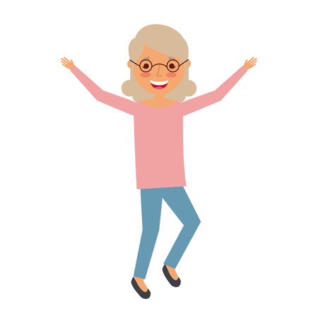 elderly woman grandmother character happy expression vector illustration