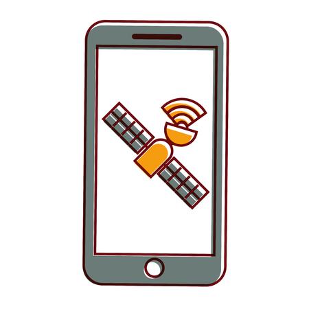 smartphone gps navigation satellite technology vector illustration