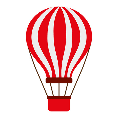 Red and white air balloon with basket vector illustration